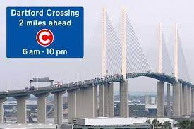 Queen Elizabeth Bridge, Dartford Crossing with Dart Charge sign and hours of cahrging displayed